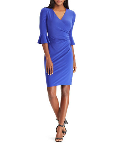 Chaps Ruffled Three-Quarter Sheath Dress-BLUE-X-Large