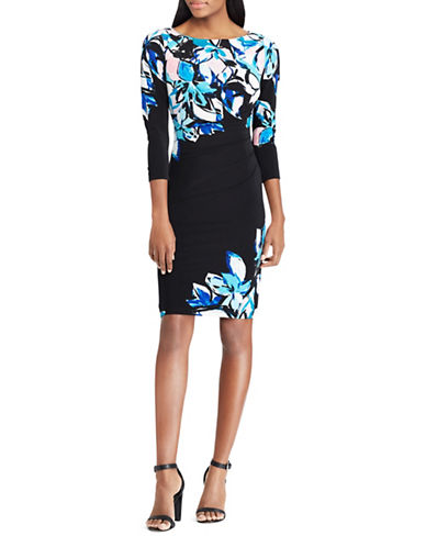 Chaps Floral Three-Quarter Sheath Dress-BLACK-X-Large