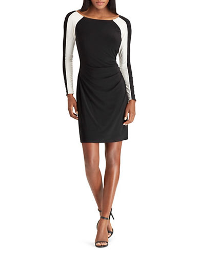 Chaps Two-Tone Sheath Jersey Dress-BLACK/WHITE-X-Large