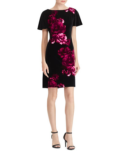 Chaps Short Flutter Sleeve Velvet Dress-BLACK/PINK-Small