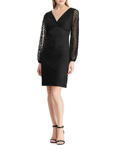 Chaps Stretch Lace Sheath Dress-BLACK-2