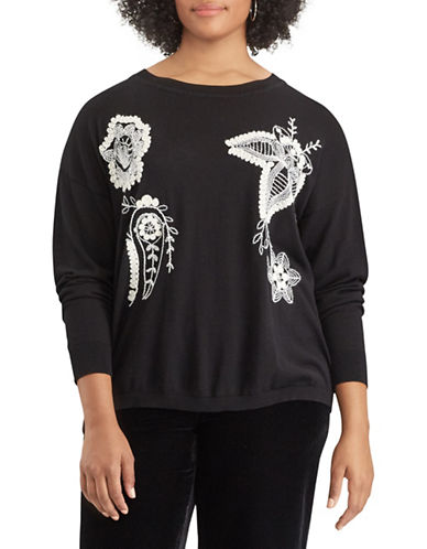 Chaps Plus Embroidered Floral Sweater-BLACK-3X