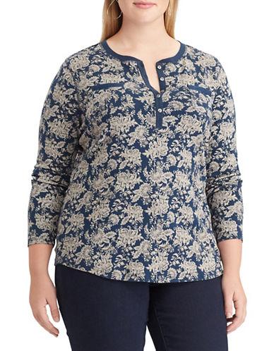 Chaps Plus Floral Cotton Henley-BLUE-2X