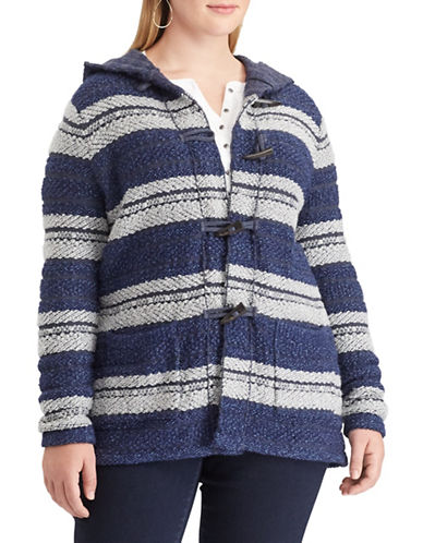 Chaps Plus Striped Toggle Sweater-BLUE-1X