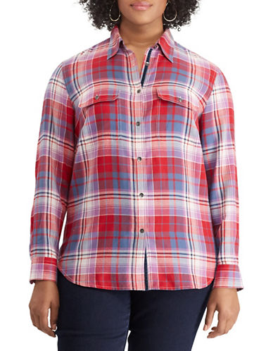 Chaps Plus Plaid Cotton Button-Down Shirt-RED-2X