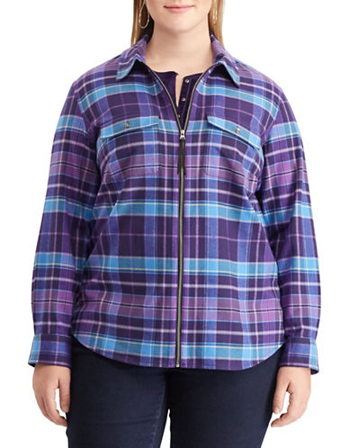 Chaps Plus Plaid Full-Zip Cotton Shirt-PURPLE-3X