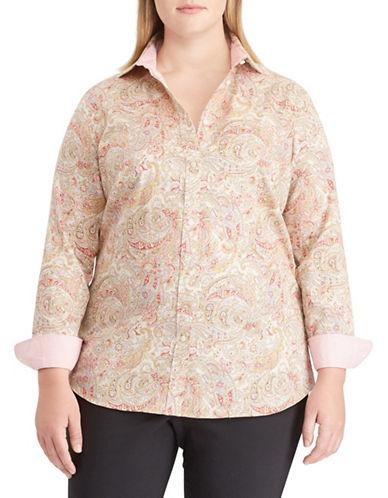 Chaps Plus Paisley Cotton Button-Down Shirt-BEIGE-1X
