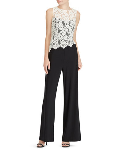 Lauren Ralph Lauren Lace-Trim Wide-Leg Jumpsuit-BLACK-12