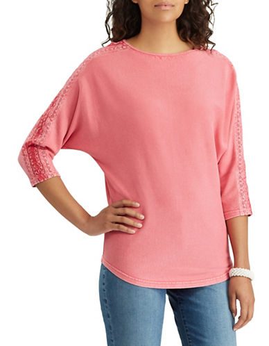 Chaps Petite Lace-Trim Cotton Top-CORAL-Petite Medium