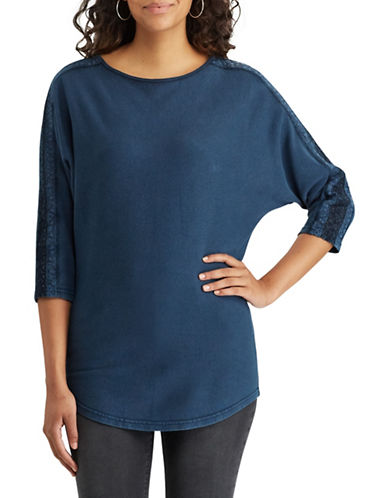 Chaps Petite Lace-Trim Cotton Top-BLUE-Petite Small