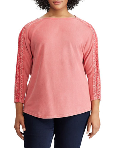 Chaps Plus Lace Sleeve Cotton Top-PINK-1X