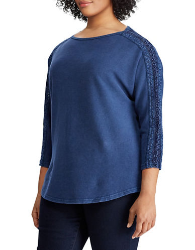 Chaps Plus Lace Sleeve Cotton Top-BLUE-2X