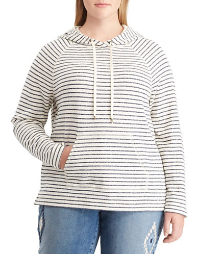 Chaps Plus Striped Raglan Sleeve Hoodie-BLUE MULTI-3X
