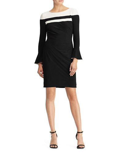 Lauren Ralph Lauren Colourblock Jersey Sheath Dress-BLACK-6