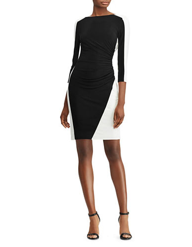 Lauren Ralph Lauren Two-Tone Ruched Jersey Dress-BLACK/WHITE-8