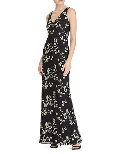 Lauren Ralph Lauren Floral Embroidered Mesh Floor-Length Gown-BLACK/IVORY-10