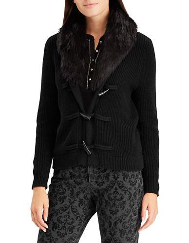 Chaps Faux-Fur Trim Toggle Cardigan-BLACK-Large