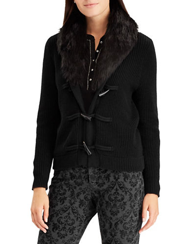 Chaps Petite Faux-Fur Trim Toggle Cardigan-BLACK-Petite X-Large