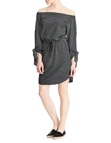 Lauren Ralph Lauren Striped Off-the-Shoulder Dress-BLACK-X-Small 89956169_BLACK_X-Small