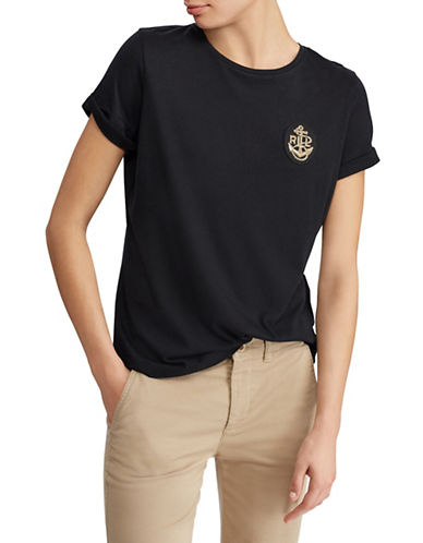 Lauren Ralph Lauren Petite Petite Embroidered Bullion Tee-BLACK-Petite X-Small 89949886_BLACK_Petite X-Small