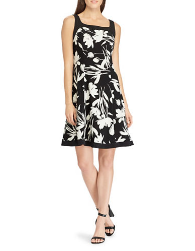 Chaps Floral Fit-and-Flare Dress-BLACK-Small