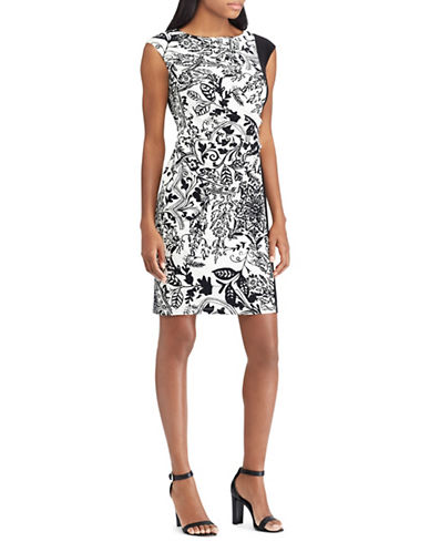 Chaps Floral-Print Ruched Dress-WHITE/BLACK-X-Large