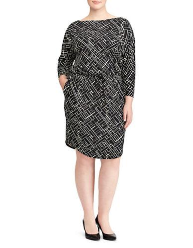Lauren Ralph Lauren Plus Geometric-Print Stretch Jersey Knee-Length Dress-BLACK-3X