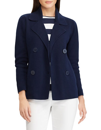 Chaps Double-Breasted Sweater Blazer-NAVY-Small