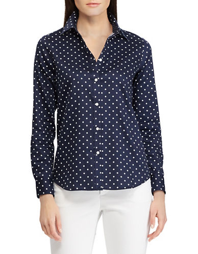 Chaps Petite No-Iron Dot-Print Cotton Shirt-NAVY-Petite Small