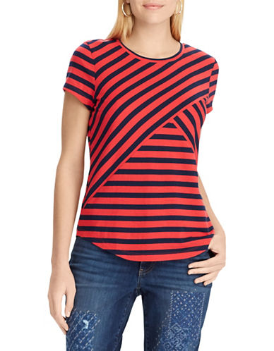 Chaps Petite Striped Jersey T-Shirt-RED-Petite Large