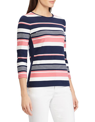 Chaps Petite Multi-Striped Jersey Top-PINK-Petite Medium