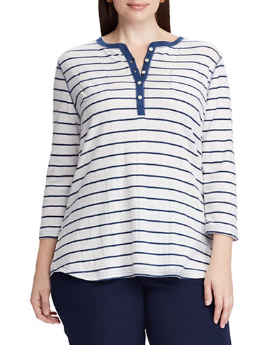Chaps Plus Striped Henley Shirt-WHITE-3X