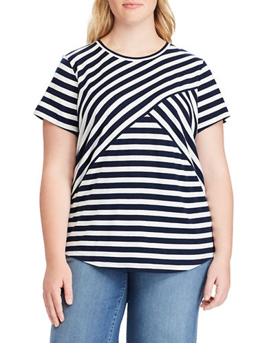 Chaps Plus Striped Jersey Top-NAVY-1X