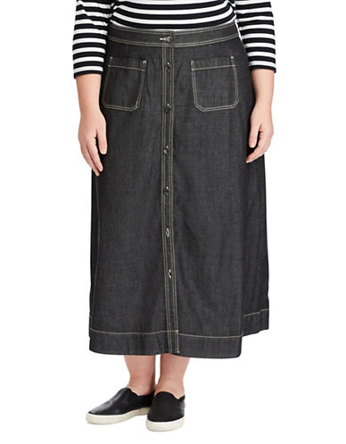 Chaps Plus Denim A-Line Maxi Skirt-BLACK-20W