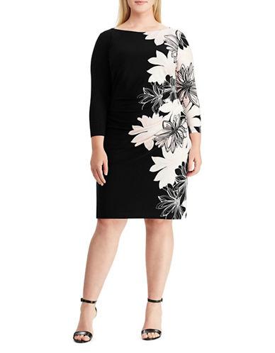 Chaps Floral Jersey Dress-BLACK-16W