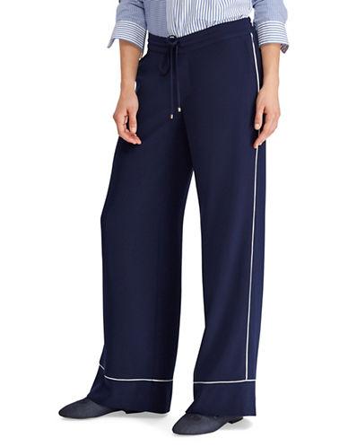 Lauren Ralph Lauren Crepe Wide-Leg Mid-Rise Pants-NAVY-4