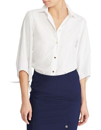 Lauren Ralph Lauren Cotton Tie-Sleeve Shirt-WHITE-X-Large