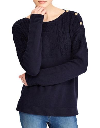 Lauren Ralph Lauren Cotton Boatneck Sweater-NAVY-Small
