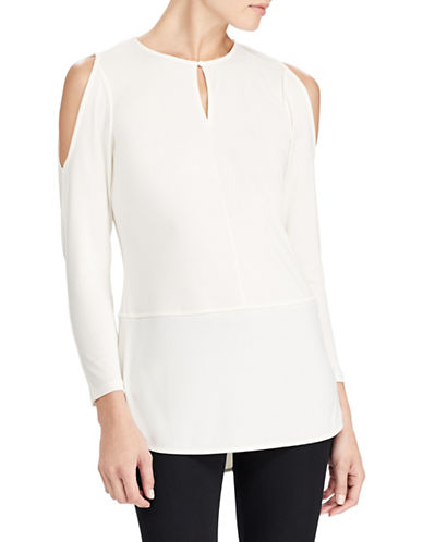 Lauren Ralph Lauren Cold-Shoulder Blouse-WHITE-Large