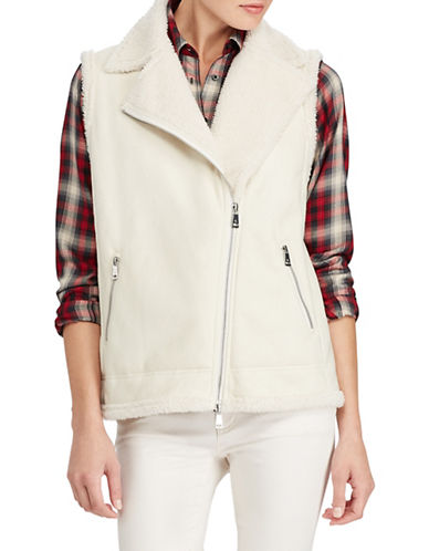 Lauren Ralph Lauren Plush Moto Vest-NATURAL-Large