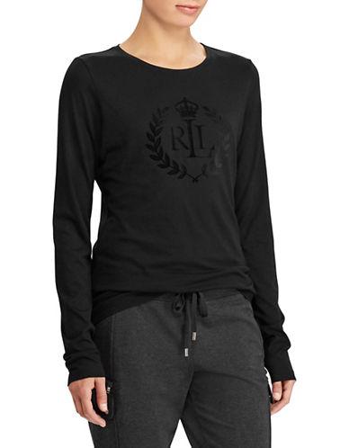 Lauren Ralph Lauren Long Sleeve Embroidered Logo Tee-BLACK-Medium 89649500_BLACK_Medium