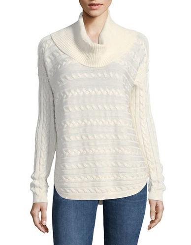Lauren Ralph Lauren Vented Cotton-Blend Knit Sweater-WHITE-Large 89649524_WHITE_Large
