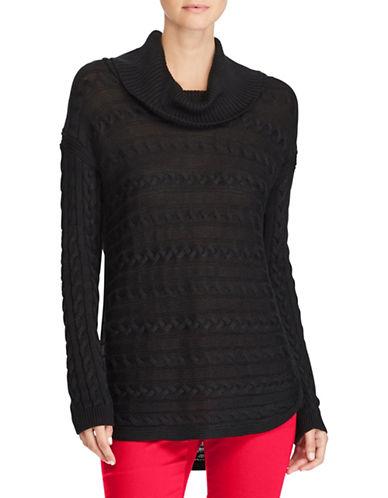 Lauren Ralph Lauren Vented Cotton-Blend Knit Sweater-BLACK-X-Small 89649523_BLACK_X-Small