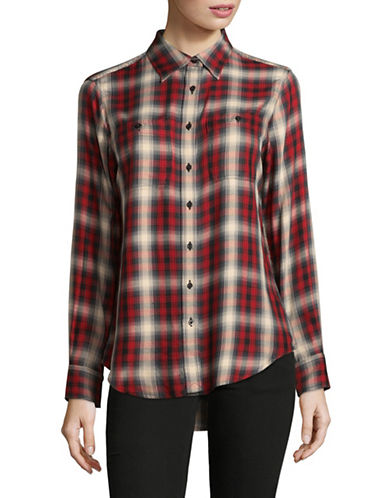 Lauren Ralph Lauren Plaid Hi-Lo Button-Down Shirt-RED-Medium