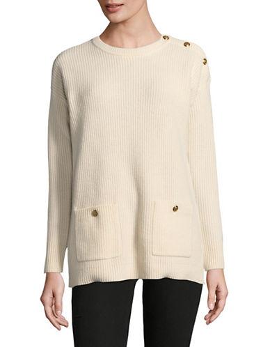 Lauren Ralph Lauren Button Crew Neck Sweater-NATURAL-Large