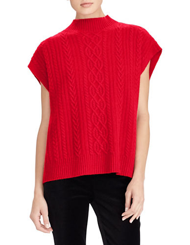 Lauren Ralph Lauren Short Sleeve Wool-Blend Sweater-RED-Medium