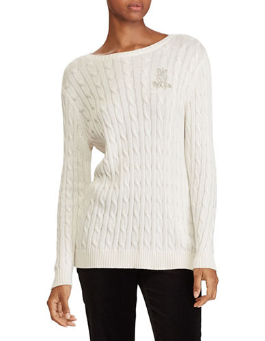 Lauren Ralph Lauren Cable Sweater-WHITE-Large 89649140_WHITE_Large