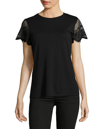 Lauren Ralph Lauren Lace Sleeve Knit Tee-BLACK-Medium 89649171_BLACK_Medium