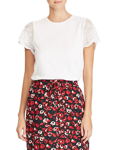 Lauren Ralph Lauren Lace Sleeve Knit Tee-WHITE-Large 89649175_WHITE_Large