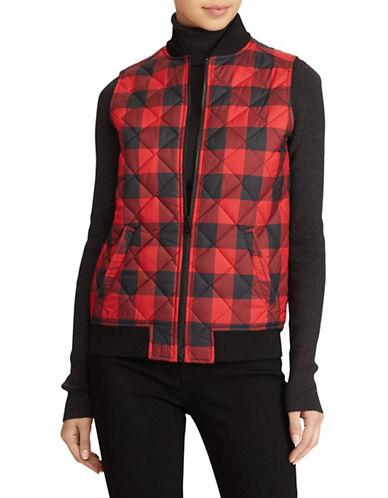 Lauren Ralph Lauren Plaid Quilted Vest-RED/BLACK-Large